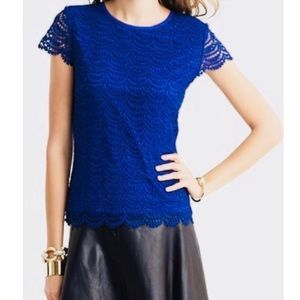 BANANA REPUBLIC Blue Lace Overlay Scallop Hem Top